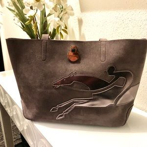 Shop-It Medium Suede Tote Bag with Racehorse